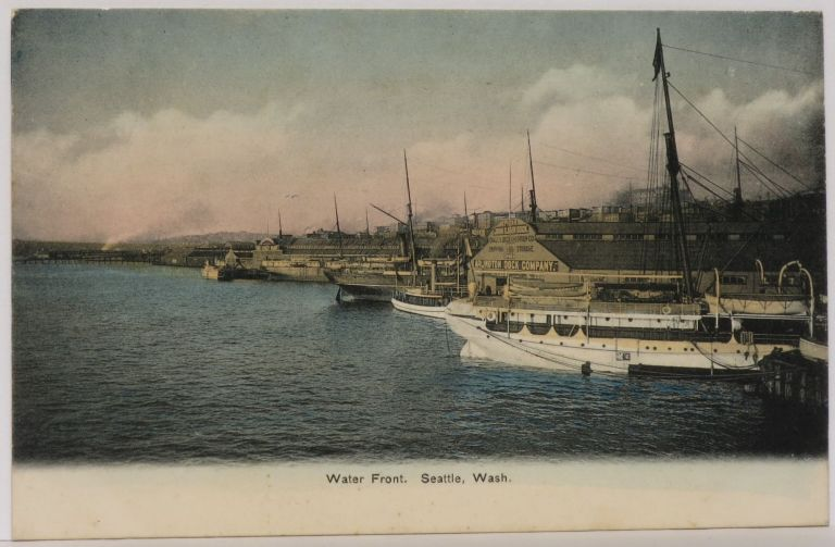 Water Front, Seattle, Wash. (Handcolored litho postcard)