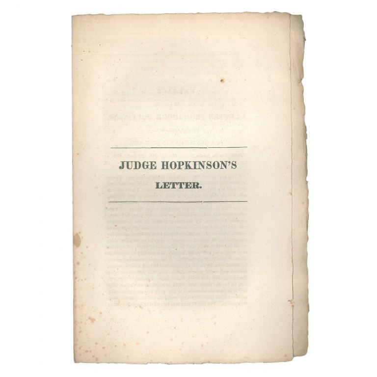 Extract of a Letter from Judge Hopkinson, of Philadelphia, to a Gentleman in England, Published in the London Morning Chronicle of the 15th October, 1829 [Caption title] / Judge Hopkinson's Letter [cover title]. Joseph Hopkinson.