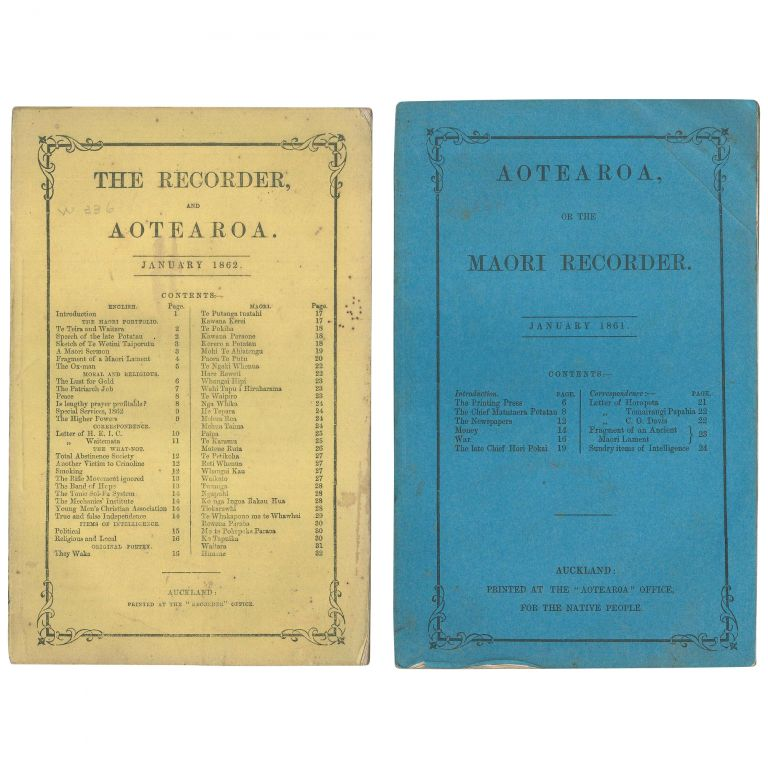 Ko Aotearoa, or the Maori Recorder (no. 1) together with The Recorder and Ko Aotearoa (no. 2) [Complete Run in Original Wrappers]. Charles Davis.