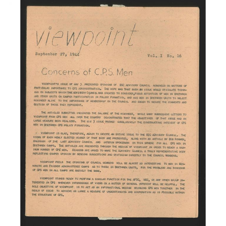 Viewpoint, September 27, 1944 (Vol. I, no. 16). Civilian Public Service, William E. Stafford.