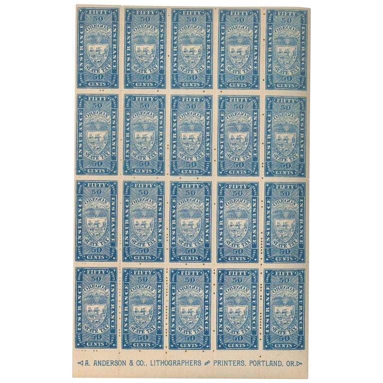 Fifty Cents (50c) Oregon State Insurance Tax Stamp (Unused Sheet). Revenue Stamps.