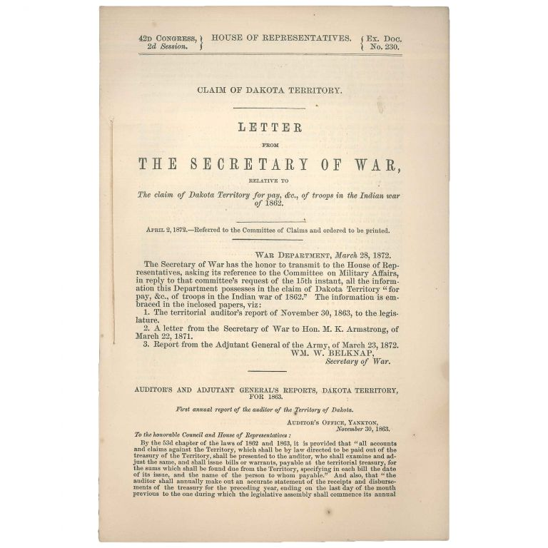 Establishment of Indian Tribes. Letter from the Secretary of the Interior Transmitting Letter from the Associated Executive Committee of Friends on Indian Affairs, Relative to the Location and Establishment of the Kiowas, Comanches, and Apache Indians. Associated Executive Committee of Friends on Indian Affairs.
