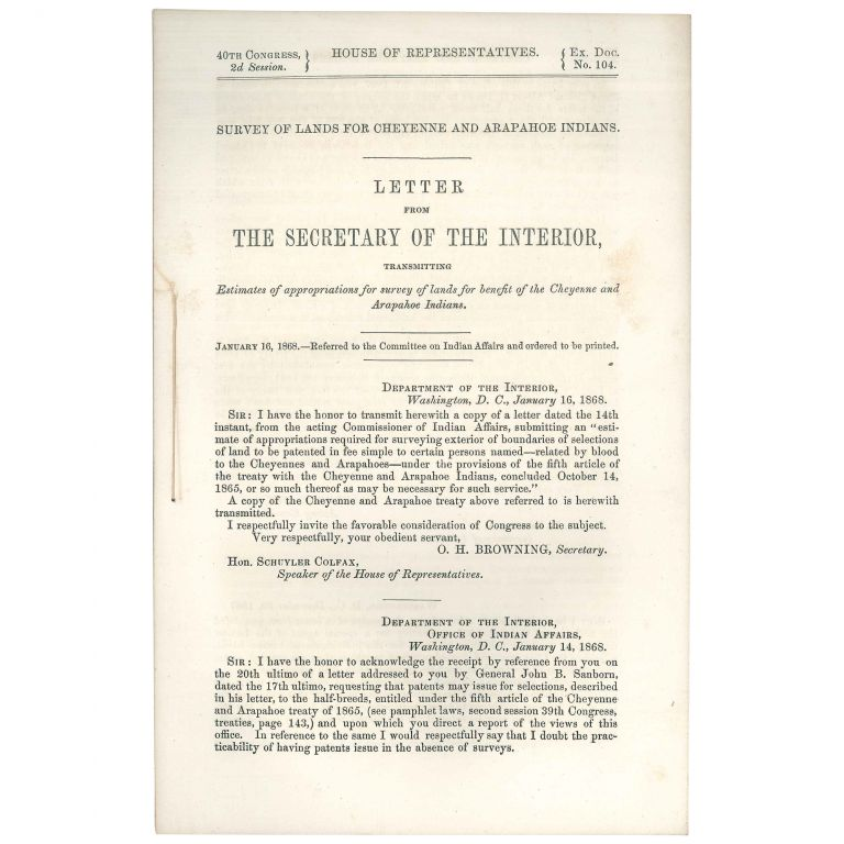 Survey of Lands for Cheyenne and Arapahoe Indians: Letter from the Secretary of the Interior, Transmitting estimates of appropriations for survey of lands for benefit of the Cheyenne and Arapahoe Indians