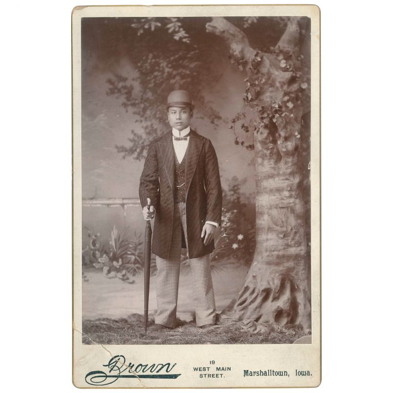 [Cabinet Card Portrait of a Chinese Man in Western Clothes]. Theodore A. Brown, photographer.