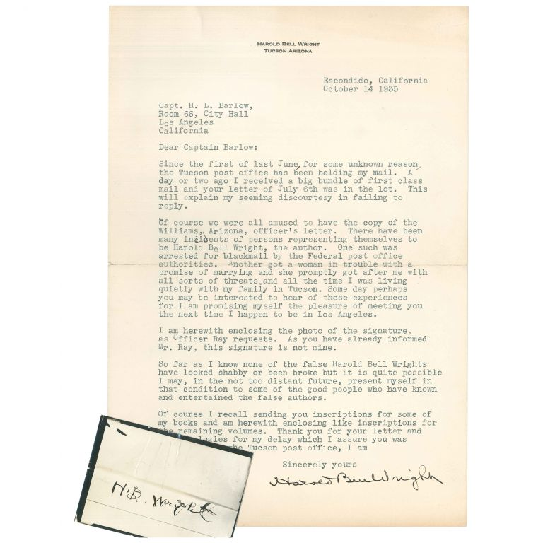 Typed Letter, Signed, About Forgeries and Impersonators. Harold Bell Wright.