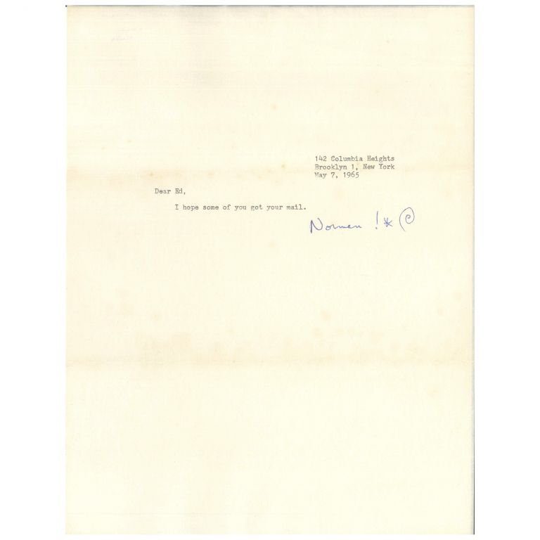 Typed Note, Signed. Norman Mailer.