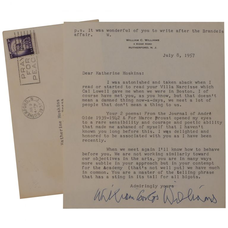 [Praise of the Poet Katherine Hoskins in a Typed Letter, Signed]. William Carlos Williams.