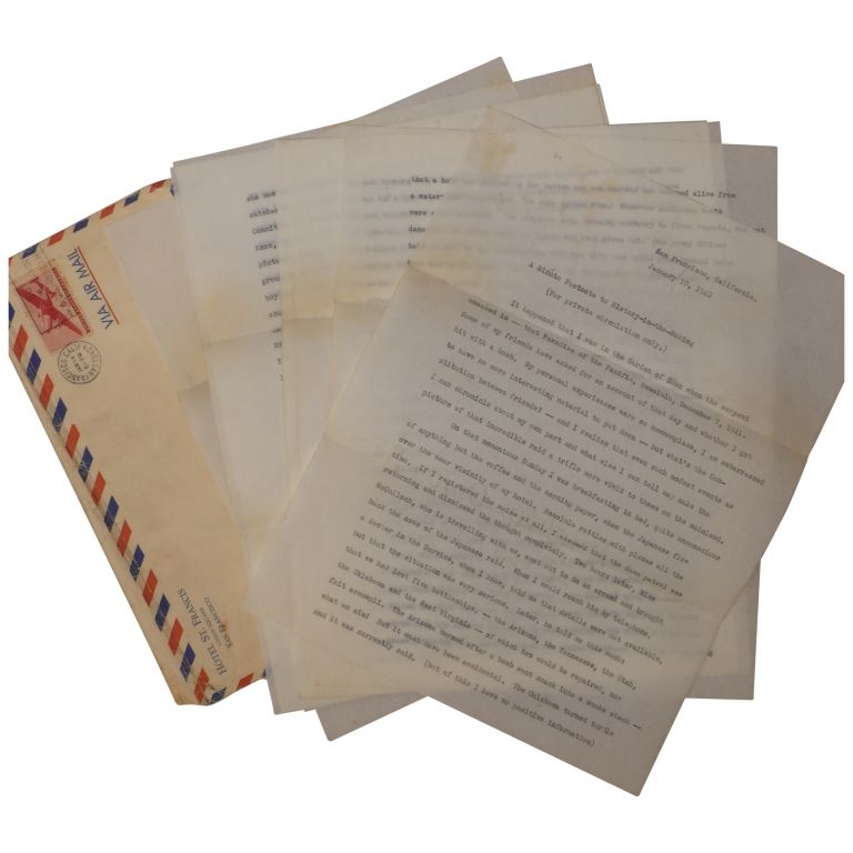 [A Prosperous Widow Recounts Life in Honolulu After the Pearl Harbor Attack, 10-Page Typed Letter, Signed]. Sturm Howe, Anne.