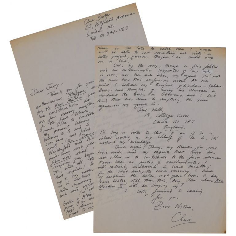 Two-Page Autograph Letter, Signed. Clive Barker.