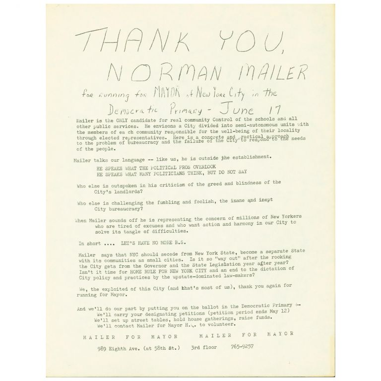 Thank You, Norman Mailer for Running for Mayor. Norman Mailer.