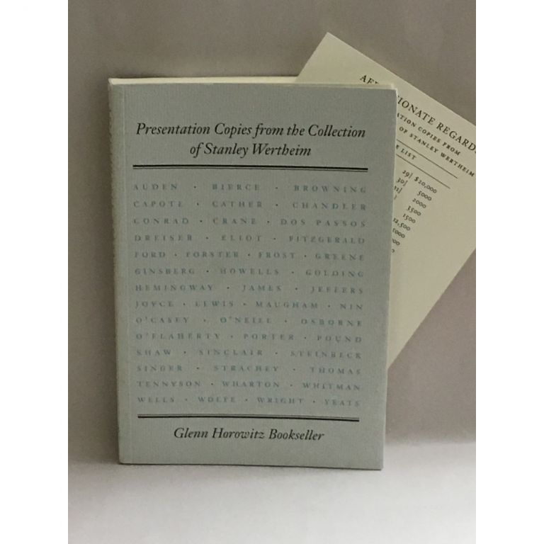 Presentations Copies from the Collection of Stanley Wertheim. Sarah Funke, Glenn Horowitz Bookseller.