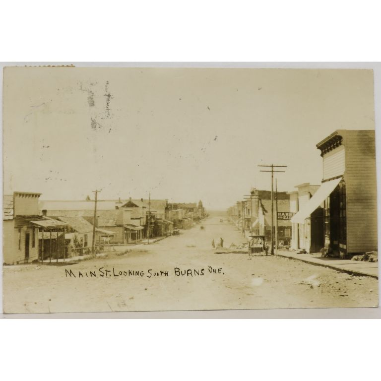 Main St. Looking South, Burns, Ore. RPPC (Real Photo Postcard)