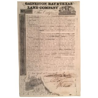 Galveston Bay & Texas Land Company Scrip No. 7285 for One Labor, Containing 177-136/1000 English...