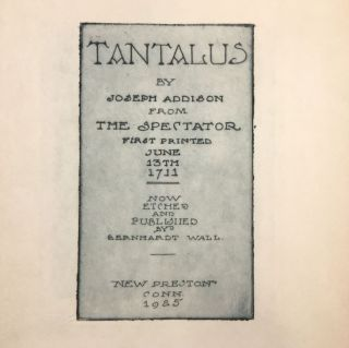 Tantalus by Joseph Addison from The Spectator First Printed June 13th 1711 Now Etched and...