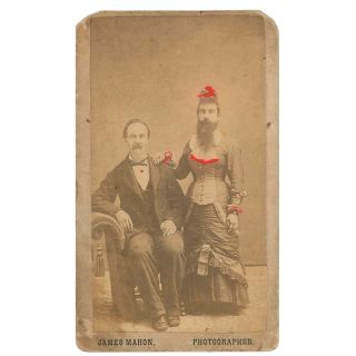 CDV of Viola Myers, Bearded Woman, with Her Husband Amos]. James Mahon, photographer