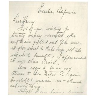 Letter from Eureka (Humboldt County), California
