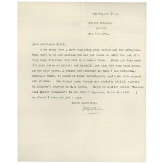 Typed Letter, Signed, on Dragon Poems. J. R. R. Tolkien
