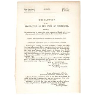 Resolution of the Legislature of the State of California in Favor of the Establishment of...