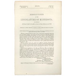 Resolutions of the Legislature of Minnesota, in favor of additional relief to the sufferers from...