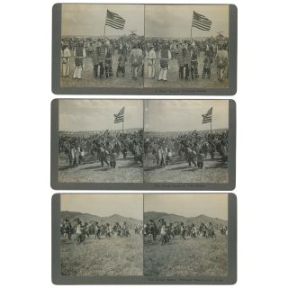 Montana Native American Dance Stereoviews (The Grass Dance in Full Swing; A Short Rest at...
