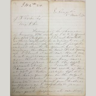 Manuscript Letter, Los Angeles, March 5, 1870, sent to J. F. Vorbe, Esq. G. J. Yarrow