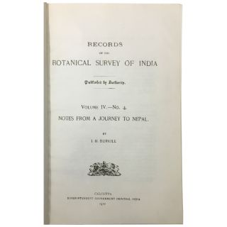 Notes from a Journey to Nepal (Records of the Botanical Survey of India, vol. IV, no. 4)