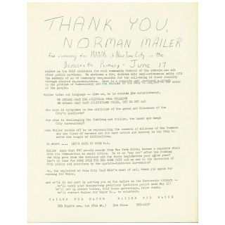 Thank You, Norman Mailer for Running for Mayor. Norman Mailer