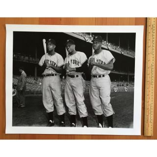 [First African-American Outfield: Monte Irvin, Willie Mays, and Hank Thompson]
