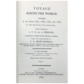 A Voyage Round the World Performed in the Years 1785, 1786, 1787, and 1788 by the Boussole and Astrolabe [2 volumes plus an atlas]